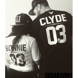 Bonnie and Clyde Couple T-Shirts ★ the GUN FLOWER edition ★ CUSTOM NUMBER