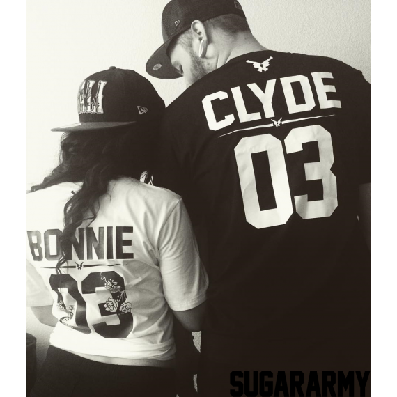 ef1223e110 Bonnie and Clyde Couple T-Shirts ☆ the GUN FLOWER edition ☆ CUSTOM NUMBER