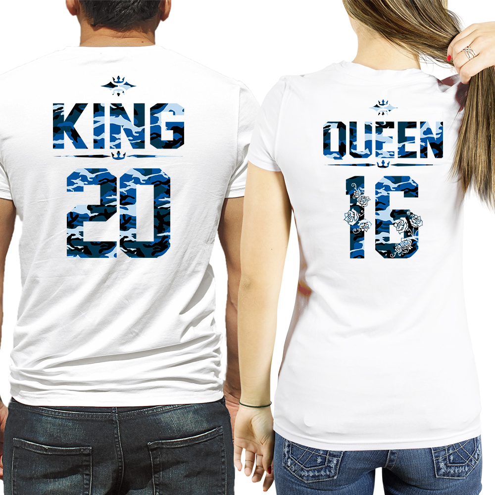 King and queen blue camouflage t shirts sugararmy for Custom t shirts camouflage