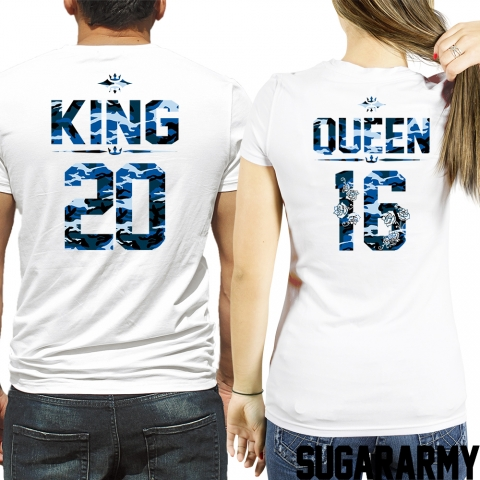 KING and QUEEN blue camouflage t-shirts