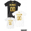 Royalty King, Queen Princess 01 family t-shirts ♛ CUSTOM NUMBER ♛