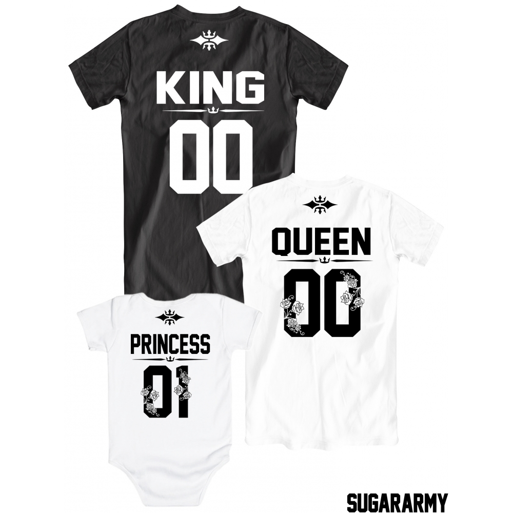 Black queen t shirt - Adorable King Queen Princess 01 T Shirts Custom Number