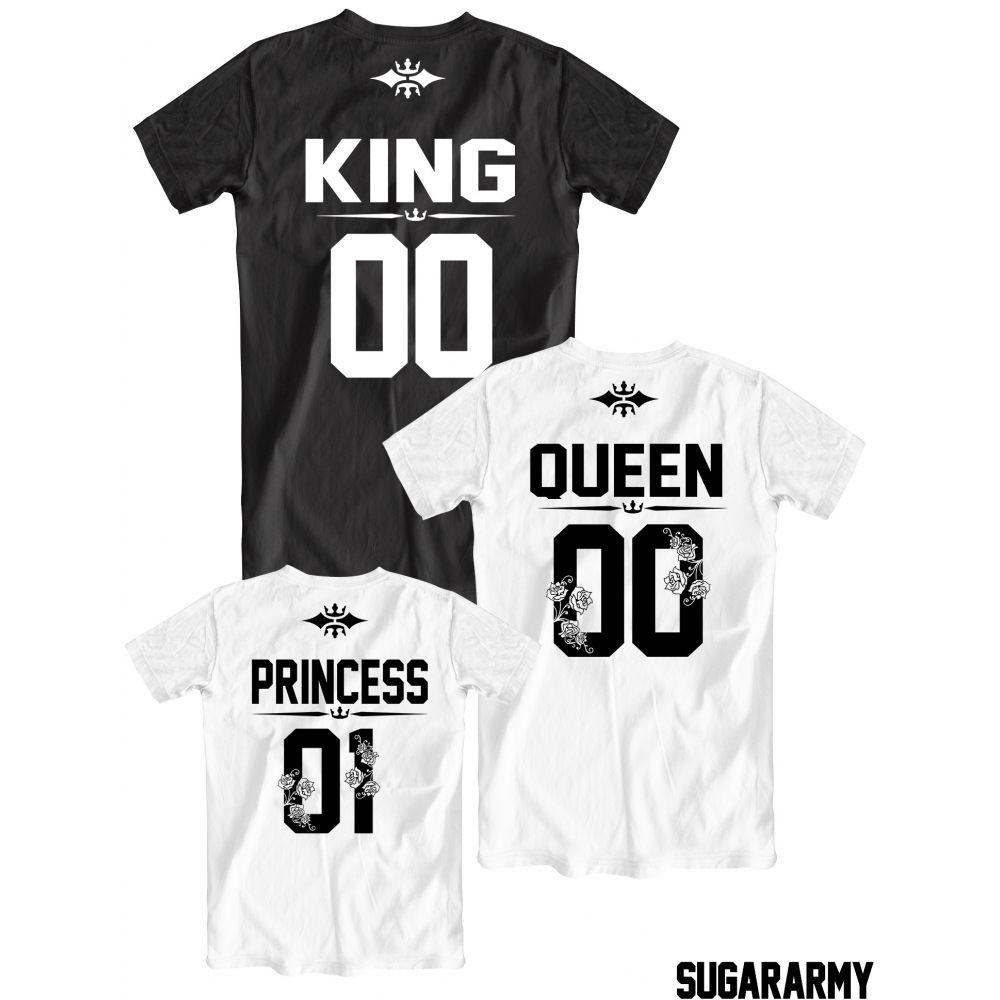 Black queen t shirt - King Queen Princess Family T Shirts Set With Numbers On The Back