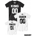 King Queen Princess family t-shirts set with numbers on the back