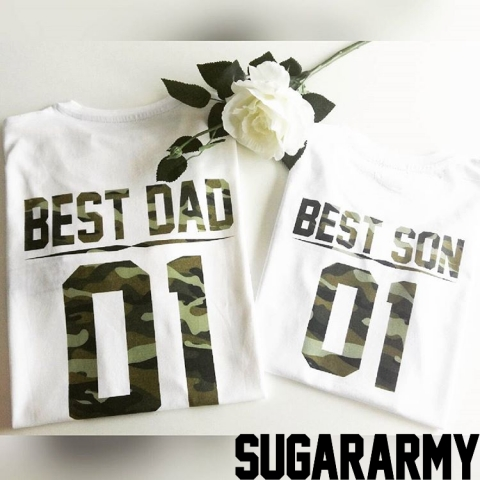 BEST DAD and BEST SON camouflage t-shirts