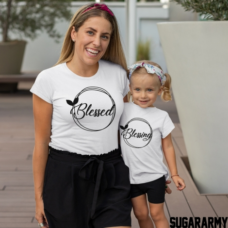 BLESSED BLESSING Mommy Kid matching set