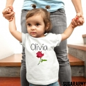 Personalized bodysuit with beautiful rose