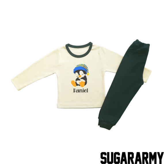 CUSTOM SLEEPY PENGUIN  BEIGE PJS
