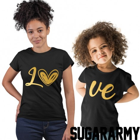 LO VE GOLD PRINT Matching Mom Kid Set