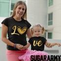 LO VE GOLD PRINT Matching Mom Kid Set