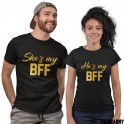 She's My BFF / He's my BFF - COUPLES SET - Gold Letters