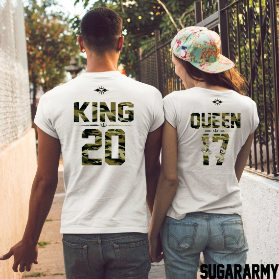 King and Queen Camouflage couple t-shirts