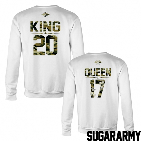 KING and QUEEN camouflage crewneck sweatshirts