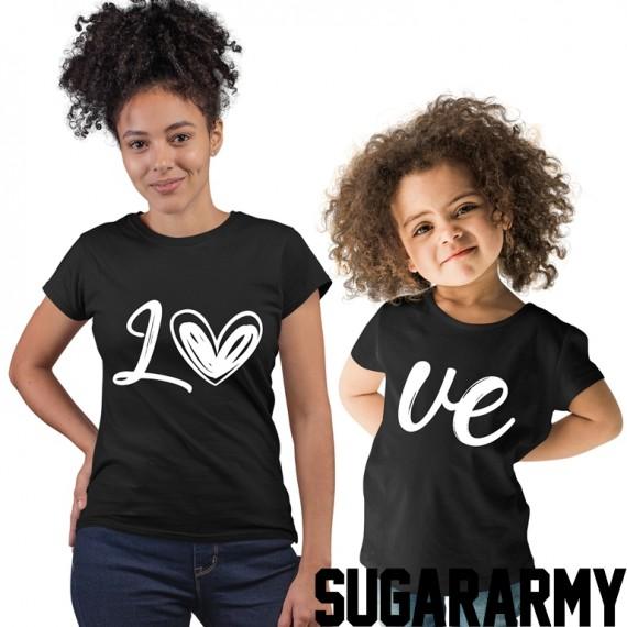 LO VE BLACK/WHITE PRINT Matching Mom Kid Set