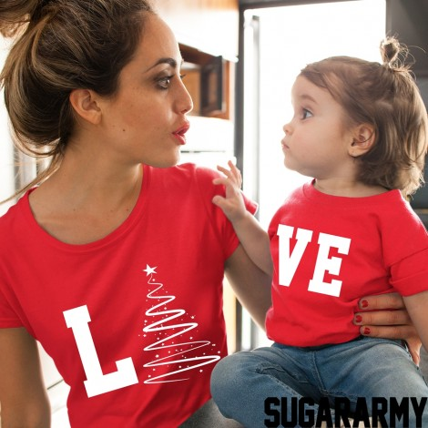 LO VE CHRISTMAS RED/WHITE PRINT Matching Mom Kid Set