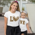 LO VE Leopard Matching Mom Daughter T-shirt