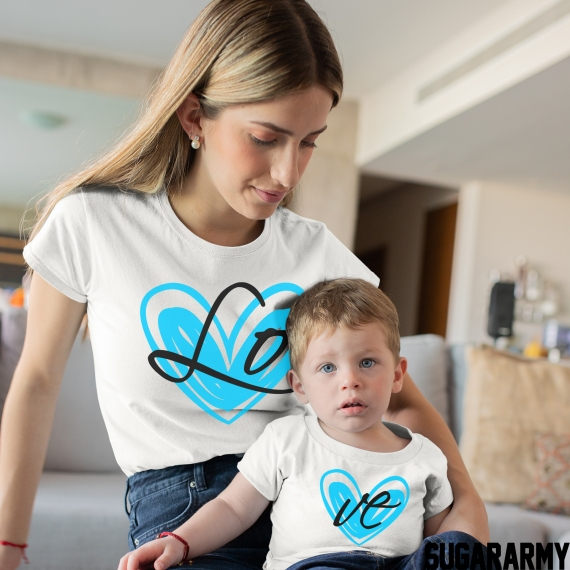 LO VE Matching Mom Kid Set - Blue Heart