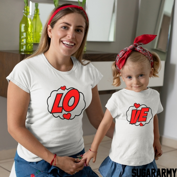 LO-VE St. Valentines Day Mom Daughter Outfit