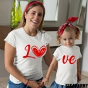 LO VE RED/WHITE PRINT Matching Mom Daughter Set