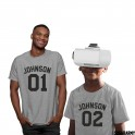 Daddy and Me Personalized Matching Grey T-shirts Set