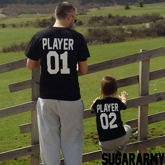 PLAYER 01 PLAYER 02 father and son matching t-shirts