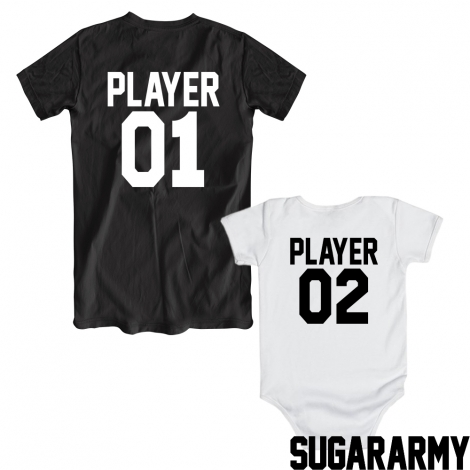 Player 01/02 dad and baby matching shirts