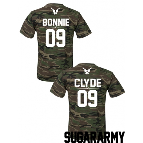 BONNIE and Clyde t-shirts ★ the CAMO COLLECTION ★ CUSTOM NUMBER ★