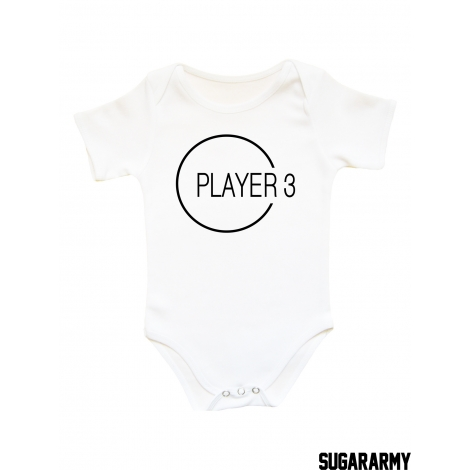 PLAYER 3 Graphic design baby bodysuit
