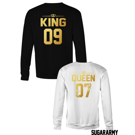 King & Queen matching couple crewnecks with Golden Letters