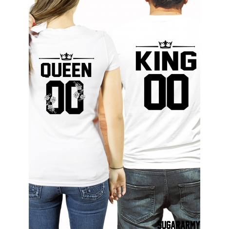 King and Queen t-shirts CUSTOM NUMBER