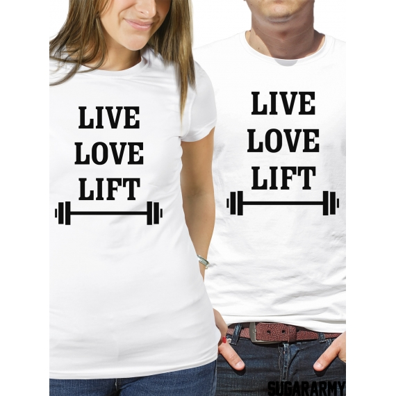 Matching couples shirts - Live Love Lift gym fitness