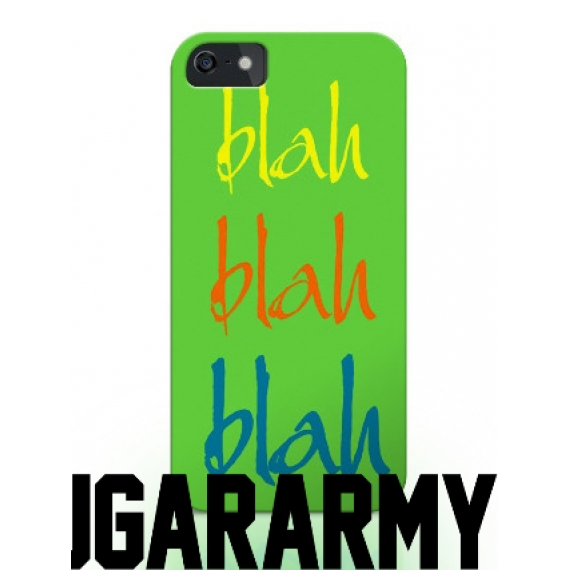 "Green phone case ""Blah Blah Blah"""