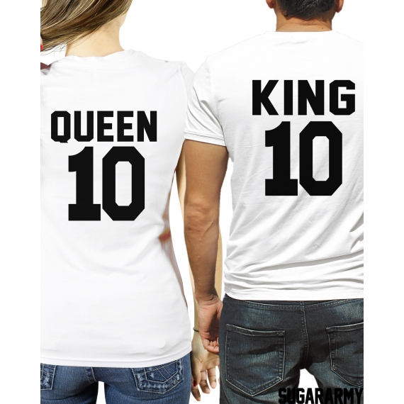 King and Queen matching couple t-shirts ♛ CUSTOM NUMBER ♛