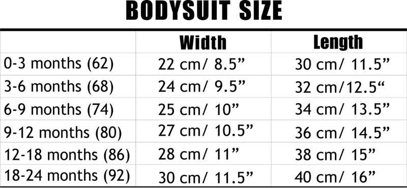 Bodysuits Size Chart