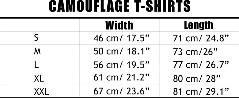 Camouflage T-Shirts Size Chart