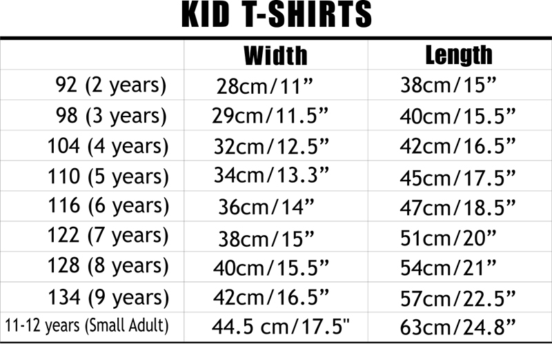 Kid T Shirts Size Chart