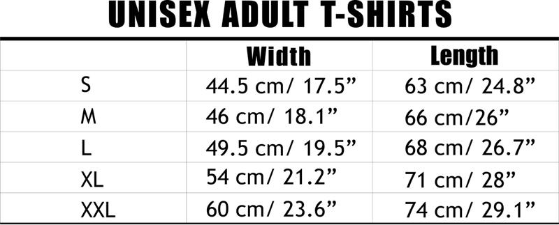 Unisex Adult T-Shirts Size Chart